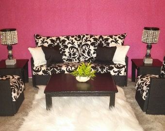 Doll Furniture for Barbie / Monster High / Bratz - Living Room Sofa and 2 Accent Chairs - Black & White Damask