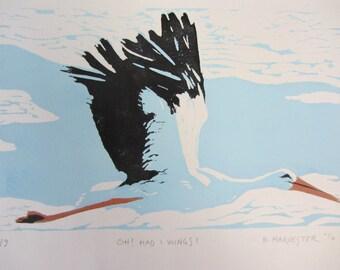 stork in flight original linoprint