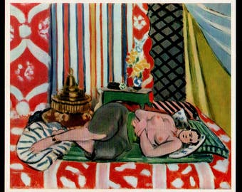 "Henri Matisse 1939 LITHOGRAPH w/COA. Unique Nude Matisse Print after 1928 Classic ""Recumbent Odalisque"".  Extremely Rare Art. Free Shipping"