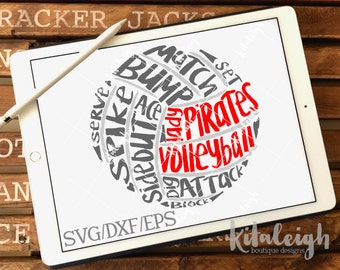 Messy LadyPirates Volleyball INSTANT DOWNLOAD in dxf, svg, eps for use with programs such as Silhouette Studio and Cricut Design Space