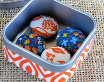 Fabric Button Magnets, set of 4 in Decorative Tin