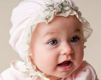 Pink Cotton Ruffled Bonnet - Natalie Collection