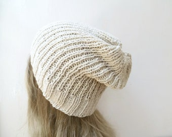 Cream Cotton Slouchy Beanie, Hand Knit Beanie, Women Ribbed Beanie, Cotton Slouch, Women Cotton Beanie, Summer Cotton Hat, ClickClackKnits
