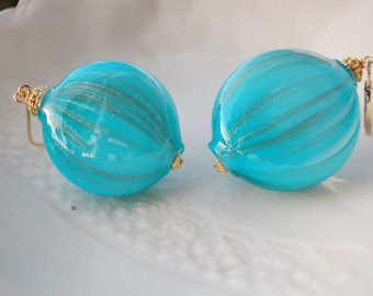 Murano Blue Blown Glass Earrings
