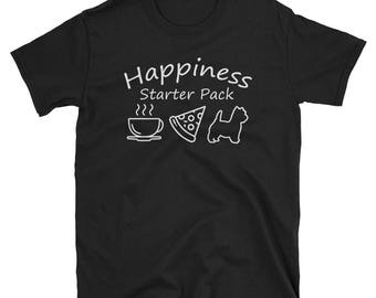 Happiness Starter Pack Coffee Pizza Westie T-Shirt West Highland White Terrier Shirt