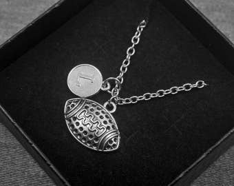 Silver American Football Necklace -Sports Jewelry -Initial Charm Necklace -Your Choice of A to Z