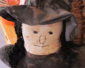 Primitive Witch Pillow Decor Samhain Halloween  Decor