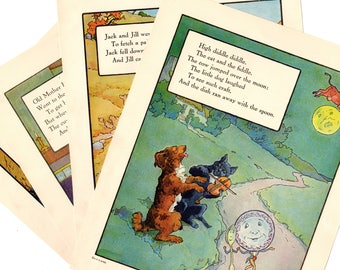 Mother Goose  Nursery Rhyme Illustrations 1920s High Diddle Diddle Jack & JillMother Hubbard Tom Pipers Son Color Plate s