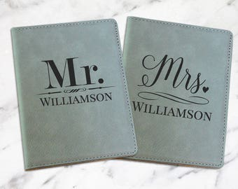 Personalized Passport Cover, Mr. and Mrs., Passport Holder, Passport Wallet, Couple Gift, Wedding Gift, Personalized Gift,  PC112, PC113