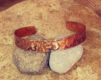 Distressed Textured Copper Cuff Bracelet