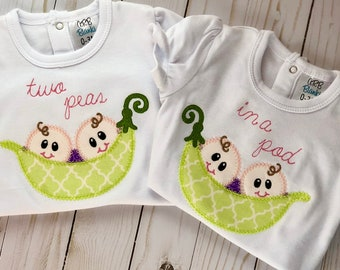 Two Peas in a Pod Twin Newborn Onesie Set