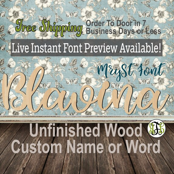 MrySt Font Custom Name or Word Sign, Cursive, Connected, wood cut out, wood cutout, wooden, Nursery, Wedding, Birthday, name sign, Script