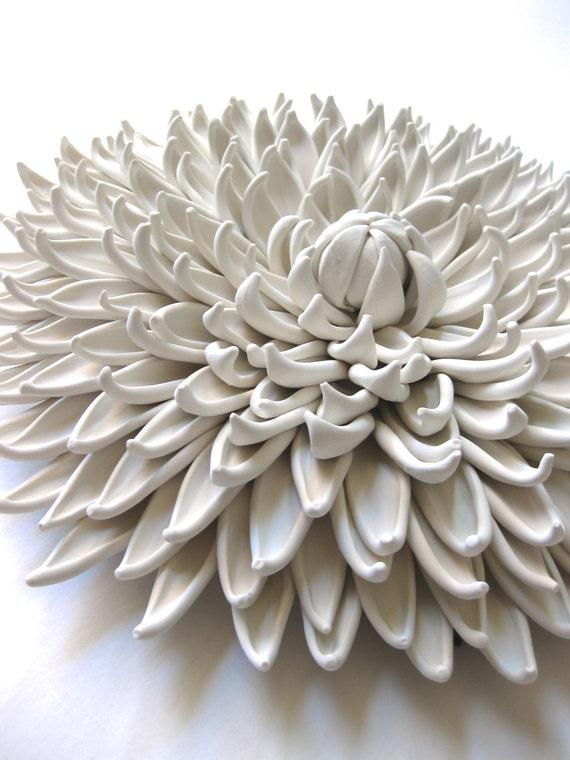 Dana Iris Dahlia Clay Wall Sculpture