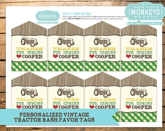 Personalized Vintage Tractor Bash Favor Tags