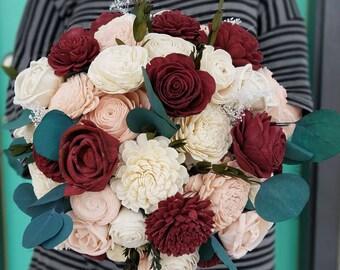 Burgundy and blush,  sola wood bouquet,  sola flower,  rose bouquet,  eucalyptus bouquet,  wooden flower,  bride bouquet,  wine flowers