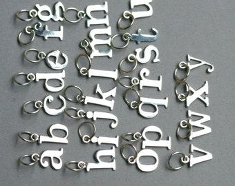 Sterling Silver Initial Charm - Add on Initial Charms - Typewriter Font