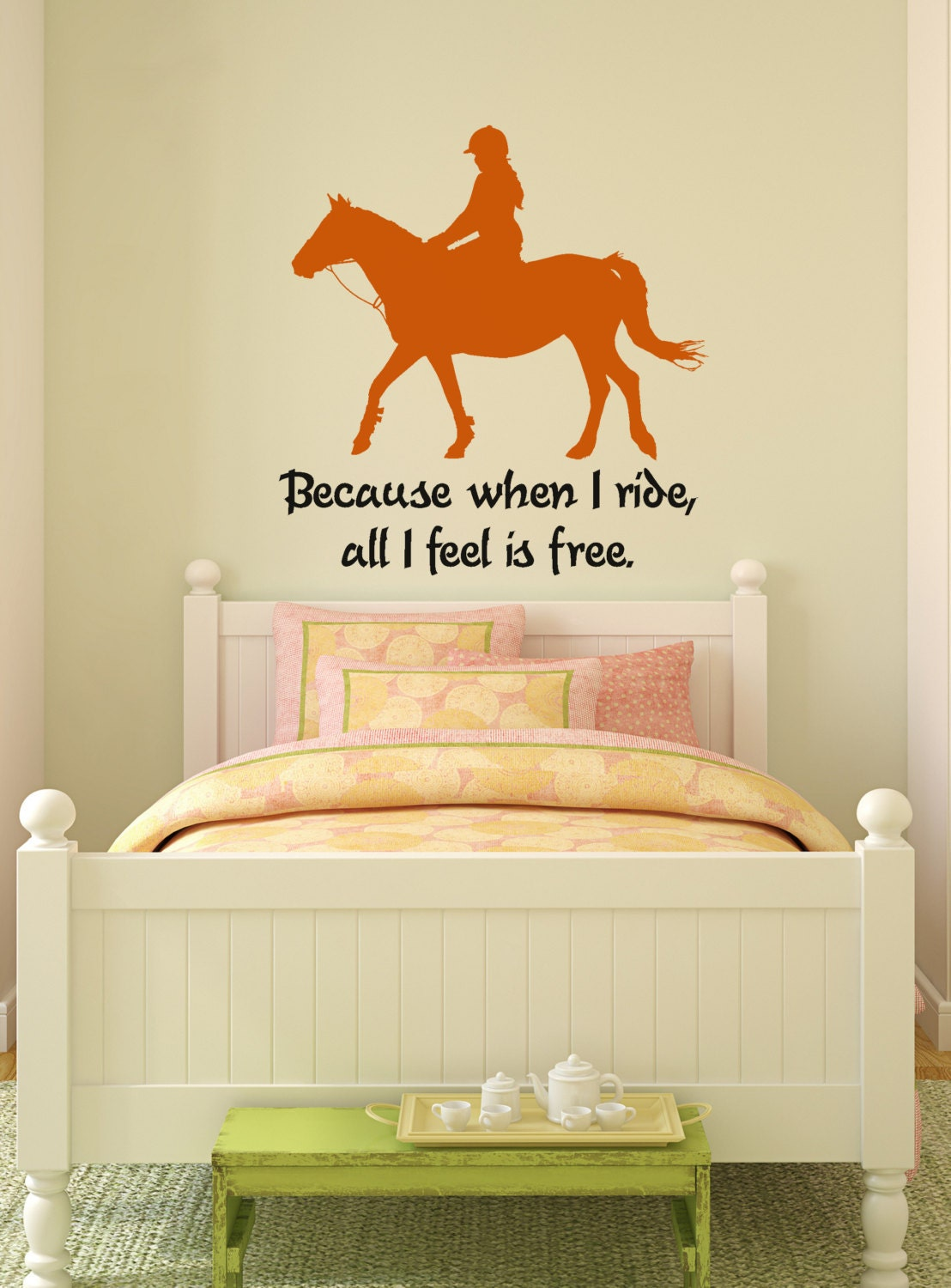 Horse wall decal horse rider quote sticker pony wall words