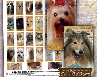 Dogs and Puppies, Domino Collage Sheet, 1x2 Inch Images, Printable Download, Collage Sheet, Images for Pendants, Calico Collage