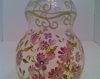 Vintage Hand - Painted Pink & Purple Floral Vase by Artist Tracy Porter