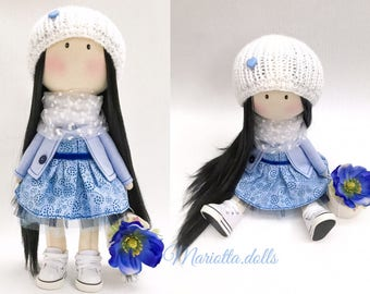 Mariottina doll Textile doll Handmade doll Fabric doll Tilda doll Soft doll Cloth doll Collectible doll Rag doll Interior doll by Mariotta