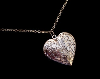 Silver Heart Locket, Art Nouveau Style Floral Tapestry Locket Necklace, Silver Floral Heart Locket, Heart Pendant, Valentine's Day