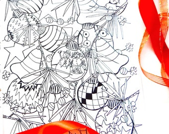 """Coloring page, Adult coloring page, Instant PDF download, Christmas coloring page, Christmas tree light"""""""