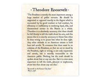 Theodore Roosevelt Speech Quote, Teddy Roosevelt Quote, Inspirational Quote Speech, Large Wall Art Office Art, Graduation Gift, Gift for Him
