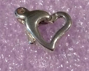 One (1) .925 Solid Sterling Silver 11mm Open Heart Lobster Clasp - Made in Italy
