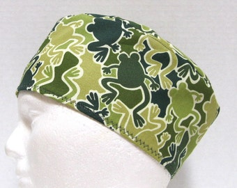 Mens Scrub Hat, Surgical Cap Chemo Cap or Skull Cap in Green Frog Camouflage