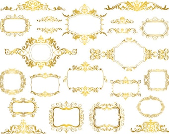Golden Frame Clip Art Digital Gold Clipart Retro Ornate Scrapbooking Decoration Embellishment