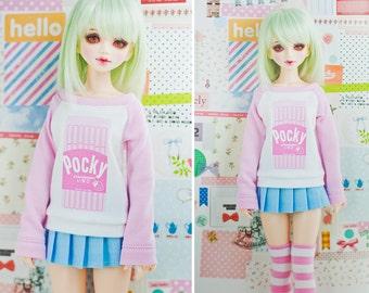 Slim MSD Minifee or SD BJD Sweater - Strawberry Pocky