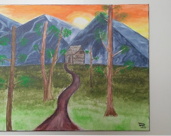 Acrylic painting, cabin in the woods scenery. An original canvas painting named 'Paradise'