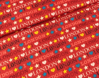 Cotton fabric I love London red (15.90 EUR/meter)