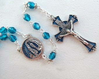 Our Lady of Lourdes Teal Blue Enamel Handmade Rosary