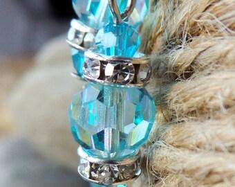 Vintage Aqua Blue Crystal Dangle Earrings, OOAK Eco Friendly Vegan Jewellery, Vintage Crystal, Blue Earrings, Something's Blue Bridal