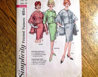 "Mid Century Modern 1950s - 1960s PROPORTIONED Jackie KENNEDY Skirt Suit - Size 14 (Bust 34"") - UNCUT Vintage Sewing Pattern Simplicity 4308"
