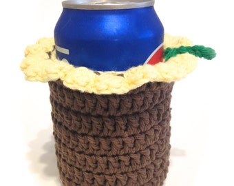 Sunflower Crocheted Can Cover With Ruffle