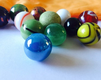 Colourful marbles in bag