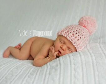 Newborn Pom Pom Hat, Pink Baby Hat, Newborn Photo Prop, Crochet Baby Hat, Newborn Girl Hat, Pink Pom Pom Hat, Infant Hat, Warm Winter Hat