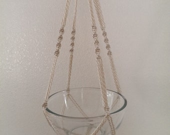 """Hand Crafted Macrame Plant Hanger- Oatmeal 35"""""""