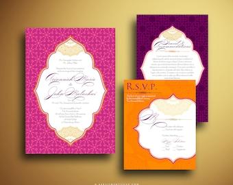 KATHLEEN Ornate Arabesque Invitations Pocket Invitation Moroccan Inspired Indian Wedding Invitations