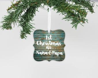 First Christmas as Nana & Papa, Metal Ornament, Grandparents, First Christmas, Custom Ornament, Personalized Gifts --24155-OR68-600