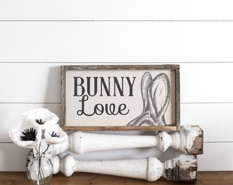 Bunny Love // 17 X 9 Handmade Sign