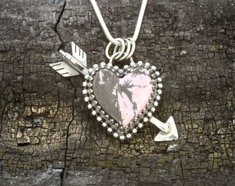 Rhodite & Sterling Silver Heart and Arrow Pendant
