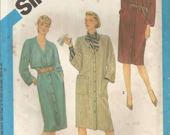 Vintage Simplicity Coat Dress Pattern 6539 Size 10 or 12 Bust 32 or 34 circa 1984