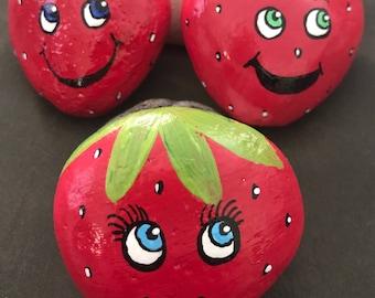 Set: Strawberry Pals Painted Rocks, Garden Stones & Imagination Play