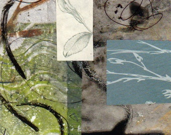 """Along the Path - Original Collage with Hand Drawn and Painted Papers 4 x 4 on 5 x 5"""" Backing"""