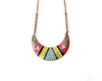 1980s Tribal Pastel Bib Necklace