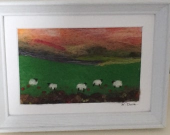 Felted sheep in the poppy field - Original wet felted  fiber art picture