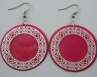 Earrings pink print
